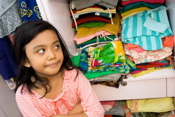 little girl and clothing collection