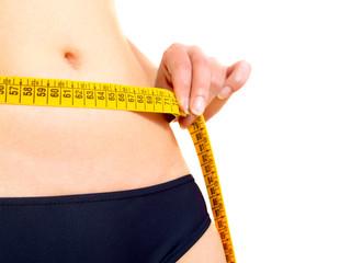 Measuring a woman's abdomen