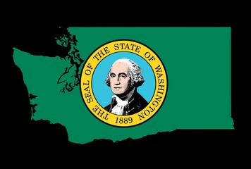 Washington Flag as the territory Map on the Black Background