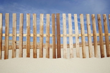 Wooden fence at beach