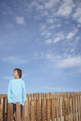 Boy 10-12 standing between wooden fences on sand dune