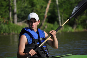 Young Man Kayaking