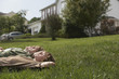 Three teenage brothers 13-17 lying down on front lawn, side view