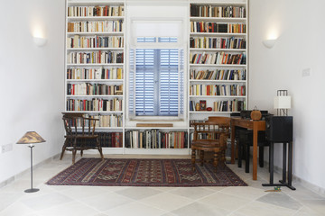Cyprus, library of restored Mediterranean town house