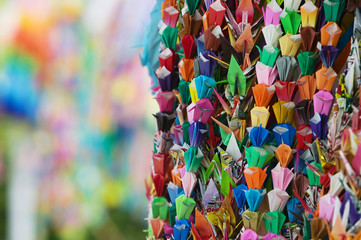 Japan, Hiroshima, Peace Memorial Park, colorful paper cranes, close-up
