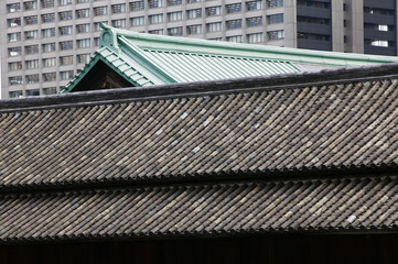 Japan, Tokyo, Tokyo Imperial Palace, Rooftop of Otemon East Gate, close-up