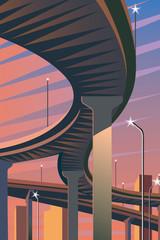 夕暮れの都会と高速道路
