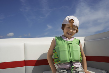 Portrait of boy 7-9 in life jacket