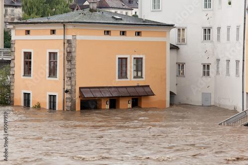 Hochwasser und Überflutung w mieście Steyr, Österreich