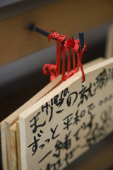 Japan, Takayama, Small wooden plaques with prayers and wishes Ema hanging on hook