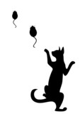 The silhouette of a black cat which hunts on mice poster