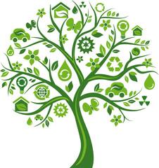 Green tree with many environmental icons