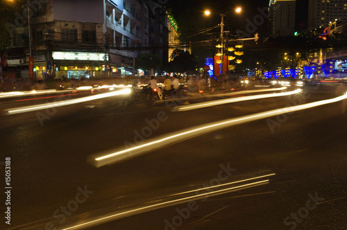 Traffic Light Trails in City