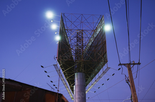 Double Billboard and Power Pole at Night