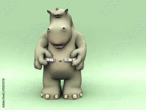 Shocked cartoon hippo measuring his waist.