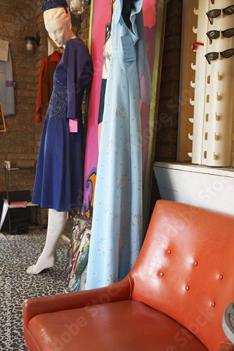 Clothing and Furniture in Crowded Second Hand Store