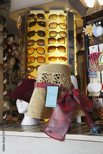 Hats and Sunglasses at Second Hand Store