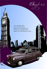 London background with Big Ben and taxicab. Vector illustration