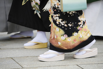 Japanese Women in Traditional Dress at Meiji Shrine