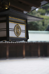 Lanterns Hanging From Eaves at Meiji Shrine