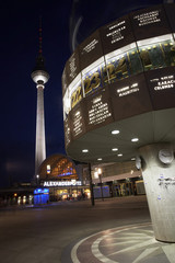 berlin world time clock on alexanderplatz at night