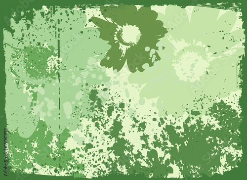 Grunge flowers background vector