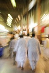dubai uae the bur dubai souq is crowded with pedestrians just after dark.