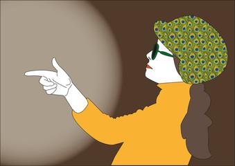Frau schießt mit der Hand ins Licht