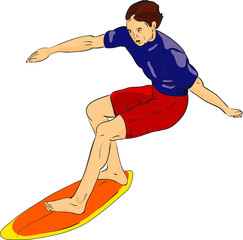 vector - surfer isolated on background