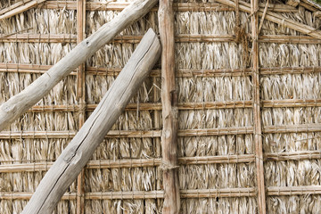 dubai uae detail of wood thatch houses on display at heritage village in bur dubai