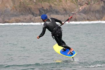 kitesurfer on hydrofoil