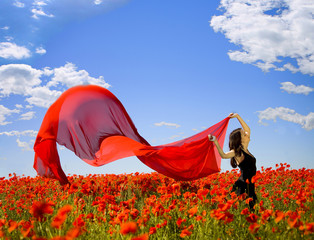 pretty girl in the poppy field