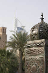 dubai uae beautifully detailed lanterns lining bridge at madinat jumeirah resort in jumeira