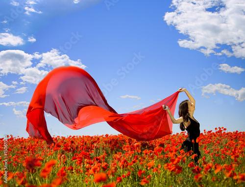 pretty girl in the poppy field