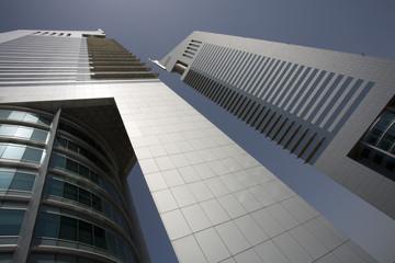 dubai uae view of emirates towers on sheikh zayed road in dubai