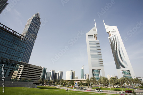 dubai uae view of emirates towers on sheikh zayed road