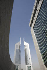 UAE, Dubai, Emirates Towers from the Dubai International Financial Centre