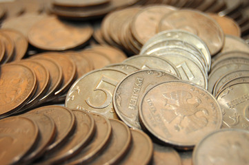 silver russian coins macro close up