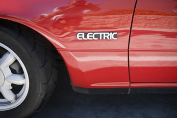 Close up of sign on electric car