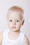 Close-up portrait of baby boy 1-2, studio shot
