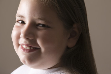 Overweight girl, smiling