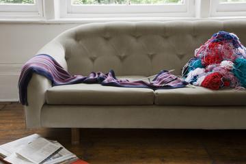 Wool threads on sofa