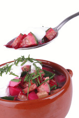 beet soup and sour cream