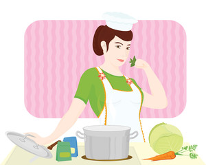 Young woman cook in a kitchen