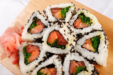 Sushi rolls with tuna and green onion