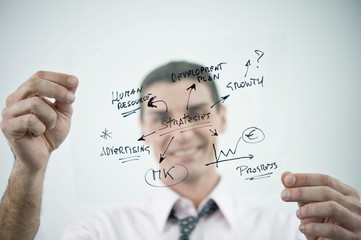 Businessman holding flow chart transparency