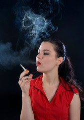 woman smoking with death above her head