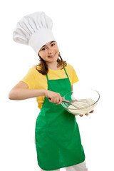 Girl mixing dough isolated on white background
