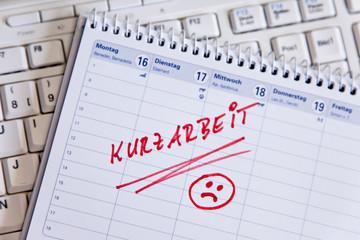 Kurzarbeit Eintrag in einen Termin Kalender