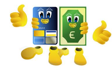 accolade entre une carte bancaire et un billet en euros